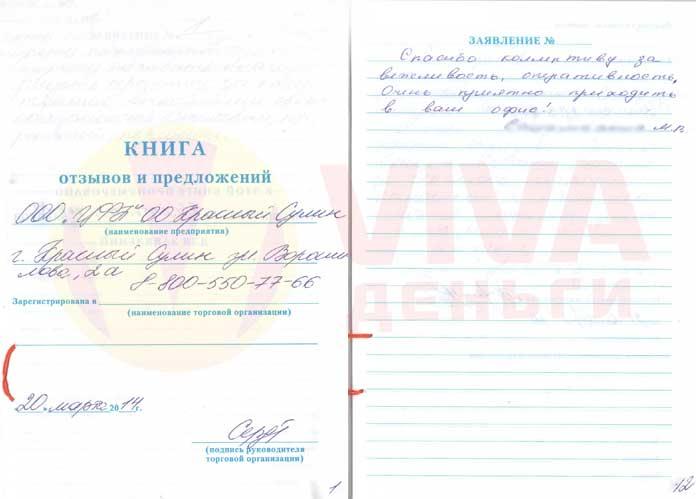 Отзыв ОО Красный Сулин VIVA Деньги от Марии С.