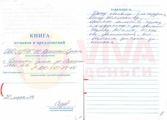 Отзыв ОО Красный Сулин VIVA Деньги от Раисы П.