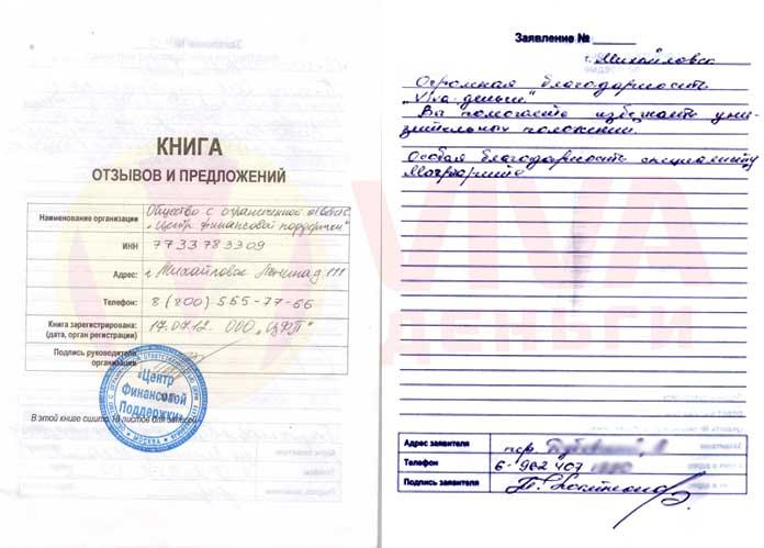Отзыв ОО Михайловск VIVA Деньги от Павла К.